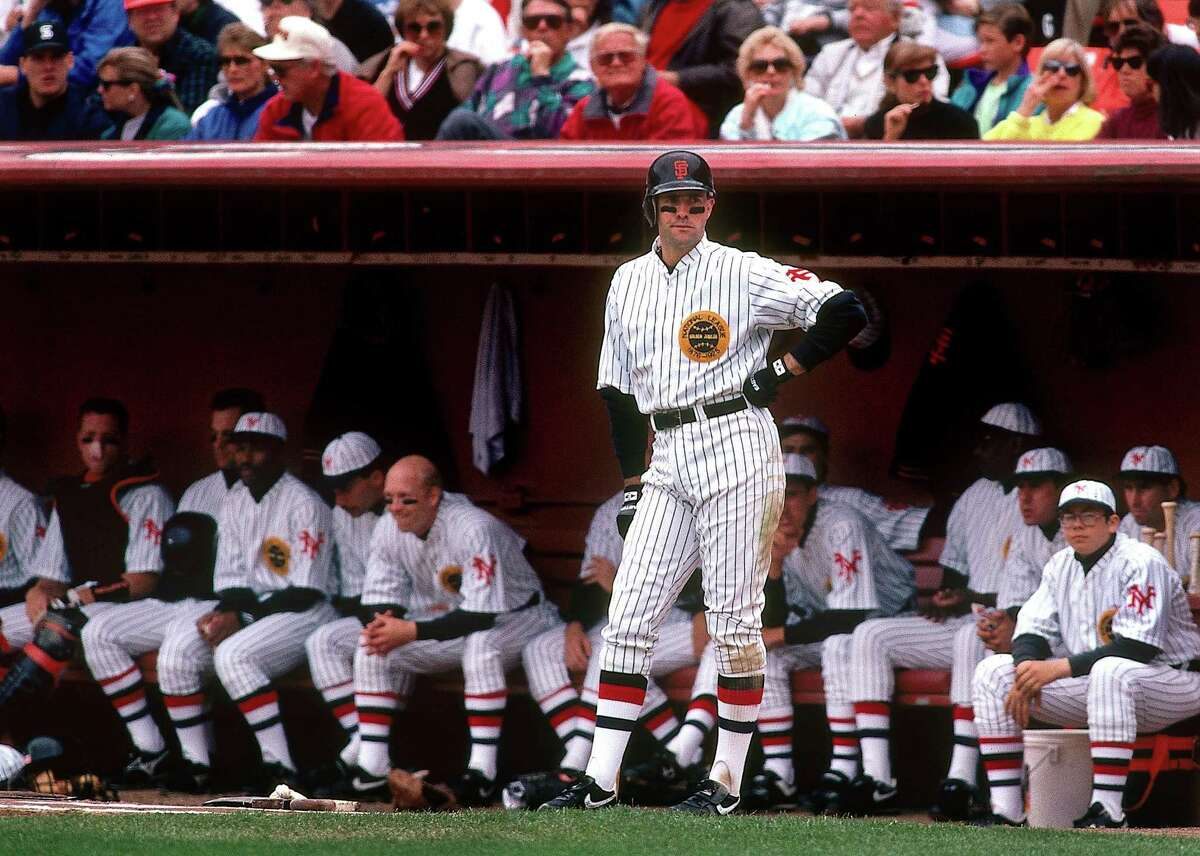 Will Clark is on deck during the Giants' Turn Back the Clock game against the Cubs in 1991.