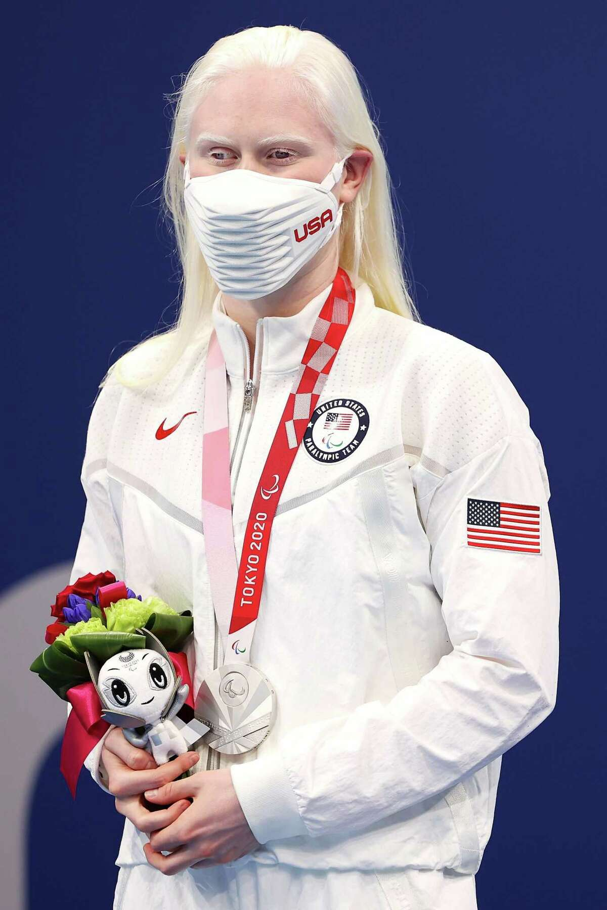 TOKYO, JAPAN - AUGUST 30: Silver medalist Colleen Young of Team United States poses in the podium of Women's 200m Individual Medley - SM13 on day 6 of the Tokyo 2020 Paralympic Games at Tokyo Aquatics Centre on August 30, 2021 in Tokyo, Japan. (Photo by Lintao Zhang/Getty Images)
