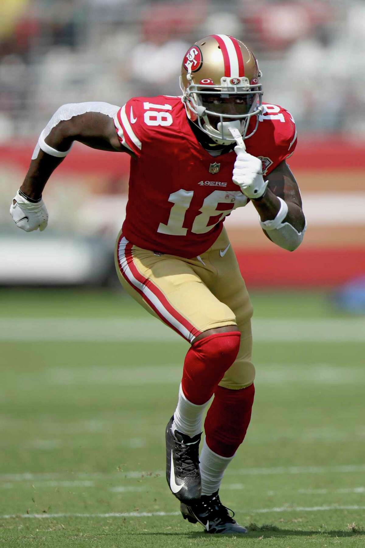 San Francisco 49ers wide receiver Mohamed Sanu (18 ) in action during an NFL football game against the Las Vegas Raiders, Sunday, Aug. 28, 2021, in Santa Clara, Calif. (AP Photo/Scot Tucker)