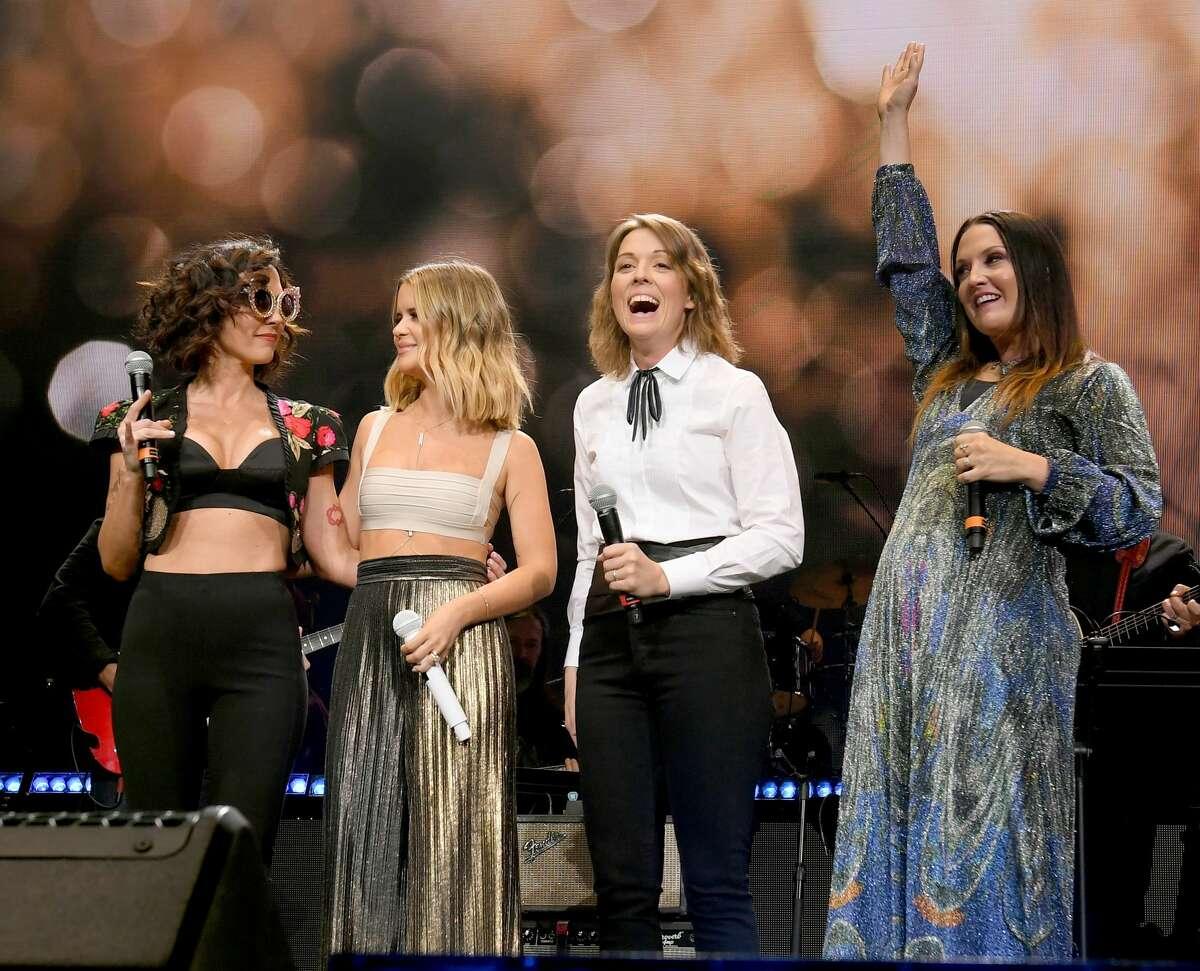 Amanda Shires, Maren Morris, Brandi Carlile and Natalie Hemby of The Highwomen perform onstage for Loretta Lynn: An All-Star Birthday Celebration Concert at Bridgestone Arena on April 1, 2019 in Nashville, Tennessee.
