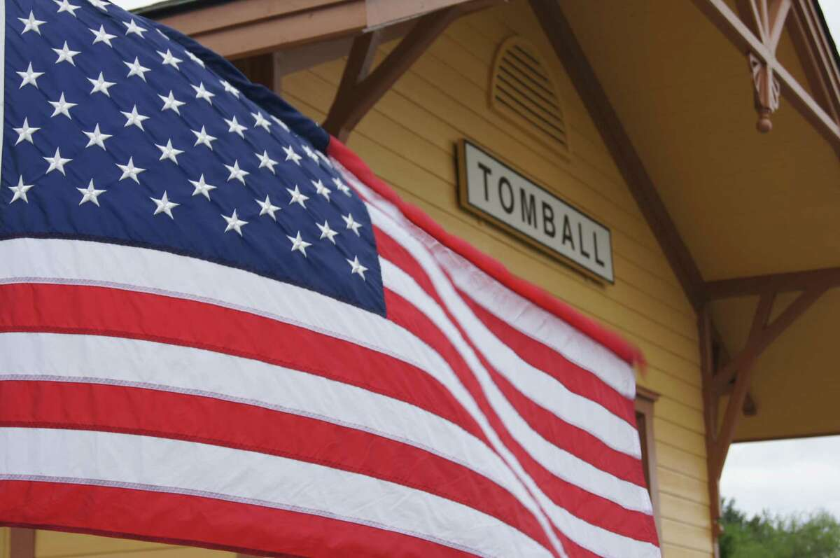 An American flag waves outside the Depot in Tomball.