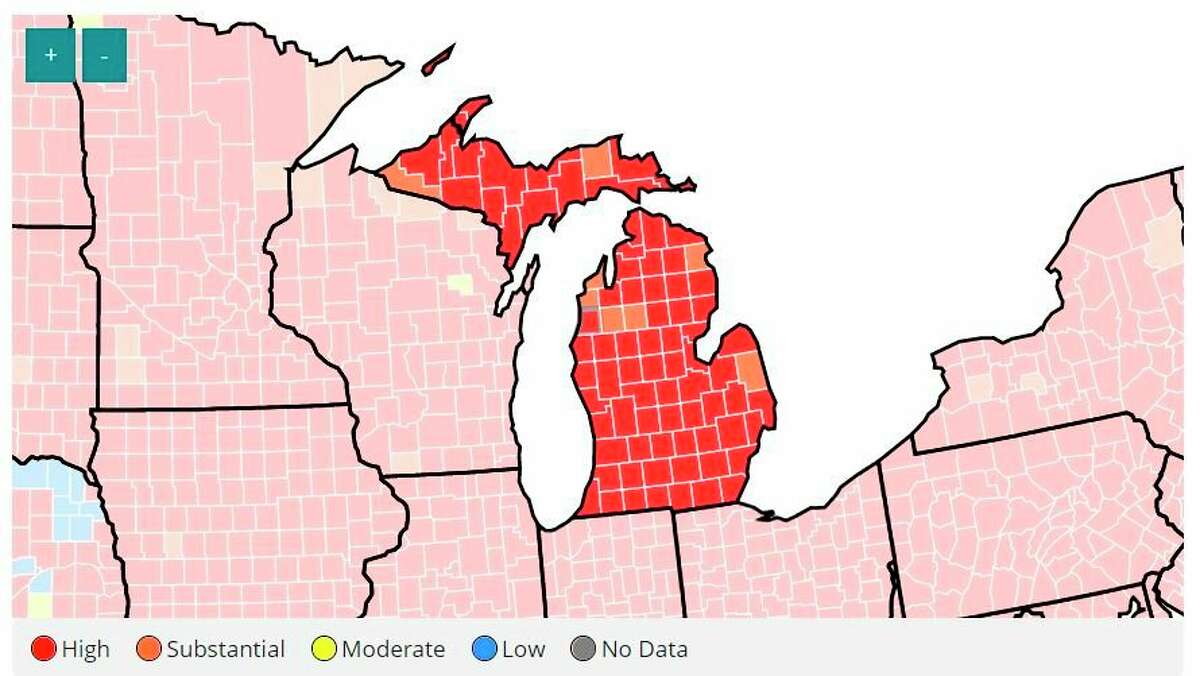Manistee County, along with most of the state is currently at a high level of COVID-19 transmission, according to guidelines by the Centers for Disease Control and Prevention. (Courtesy map/CDC.gov)