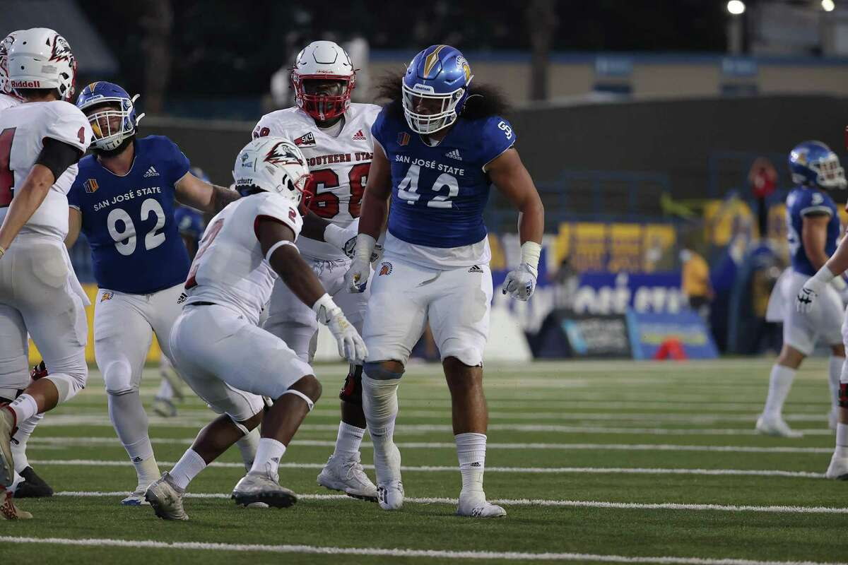 Viliami Fehoko had two tackles in the Spartans' rout of Southern Utah last Saturday night.
