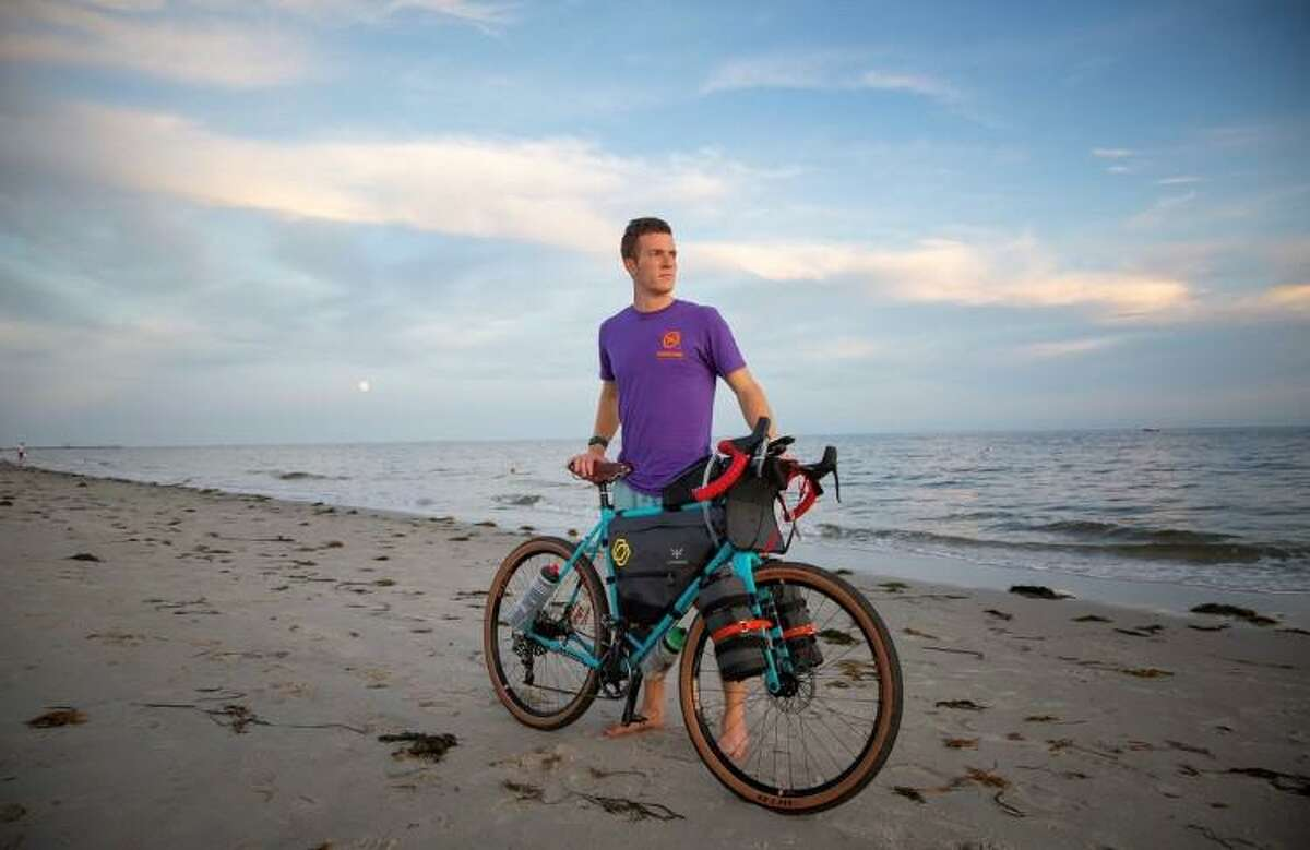 Ridgefield resident Ben Grannis is currently enduring a cross-country bike trip to raise awareness about distracted driving. Grannis' journey began on Race Point Beach in Provincetown, Mass., last month.