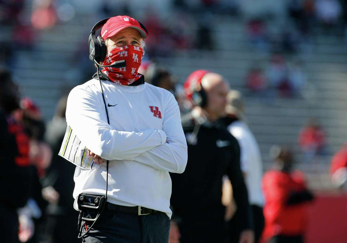 Houston Cougars head coach Dana Holgorsen, who coached in the Big 12 at West Virginia, doesn't want to focus on anything other than opener against Texas Tech as Cugars appear headed for a new conference.