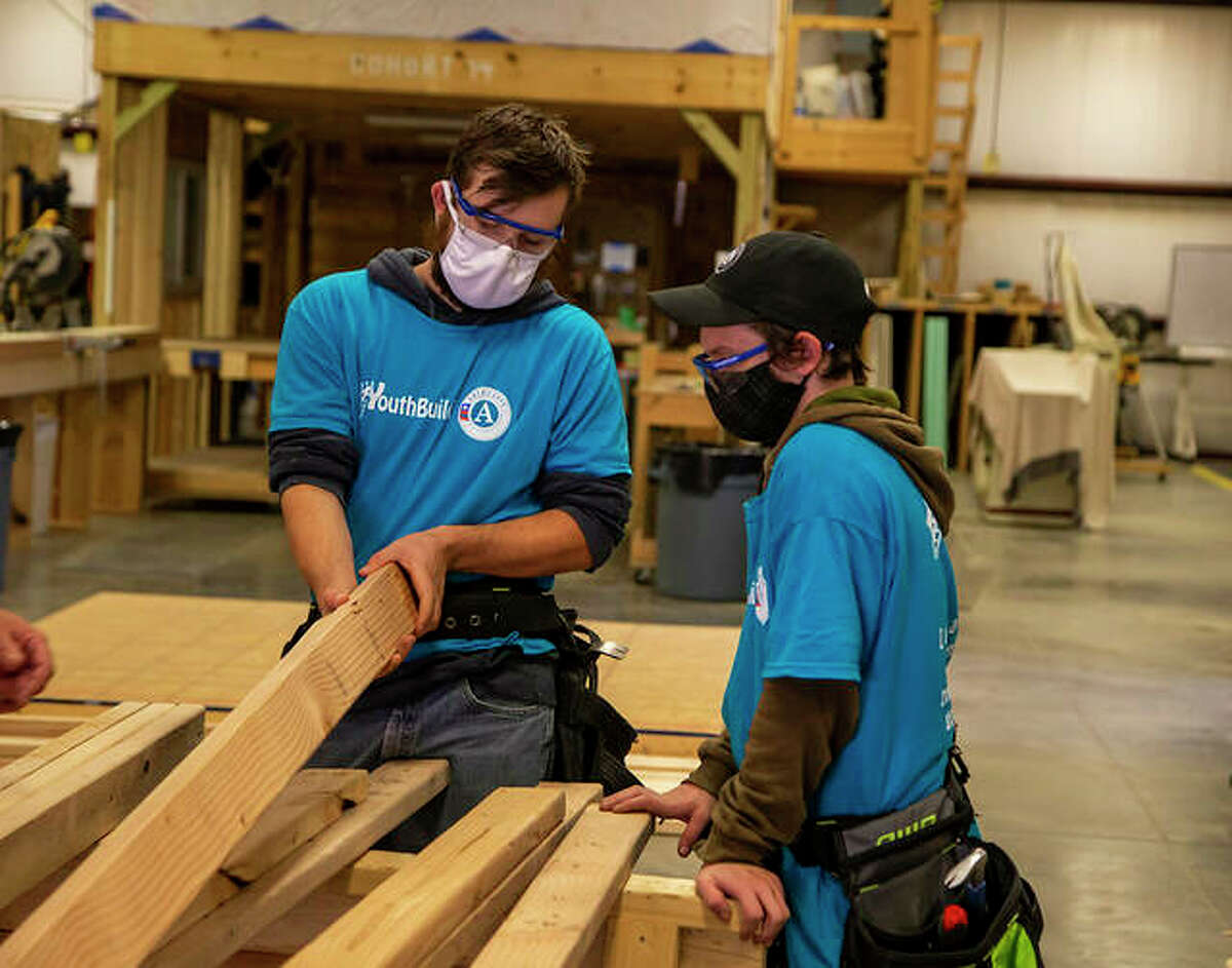 Lewis and Clark Community College YouthBuild students practice woodworking at the Scott Bibb Center in Alton.