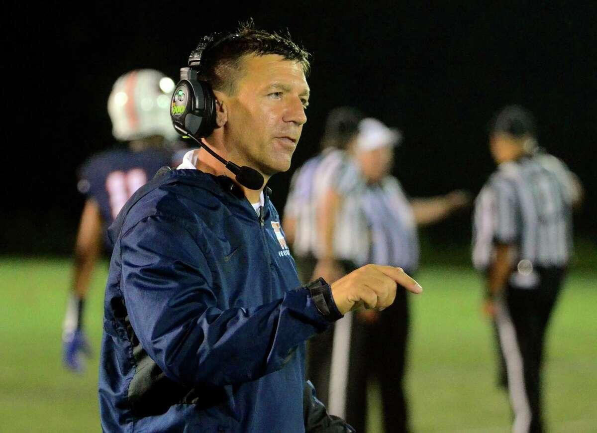 WCSU Head Coach: Joe Loth during football action against Dean College in Danbury, Conn., on Saturday Sept. 14, 2019.