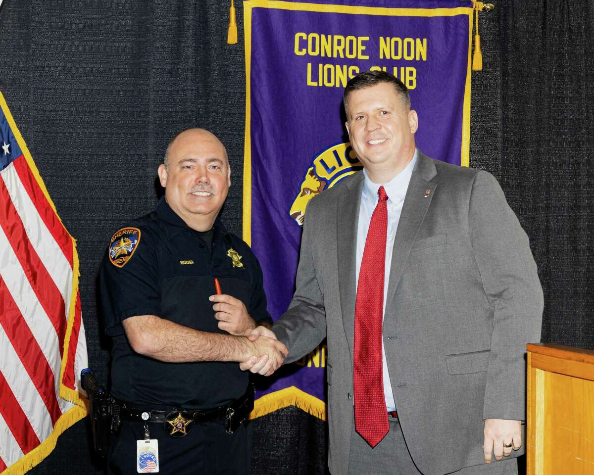 Last week the Conroe Noon Lions Club welcomed Steve Squier(l) with Montgomery County Crime Stoppers who informed the club about the history, updates and value of the system to crime prevention in our area. VP Warner Phelps (r) presented him with a coveted Conroe Noon Lions Club pen in hopes it will be use it to write many reward checks.