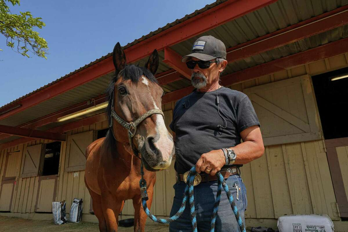 Joe Pimentel evacuated his horses to the Amador County Fairgrounds in Plymouth when the Caldor Fire threatened his property in Fair Play. On Friday he picked them up for the ride home.