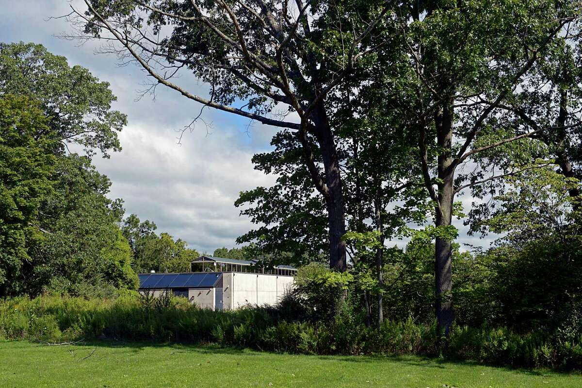 Town officials have selected a site on the town-owned Schlumberger property as the location of the new combined facility for the police and fire departments. The Sky Dome building, currently being used for storage, would be demolished. Friday, September 3, 2021, Ridgefield, Conn.