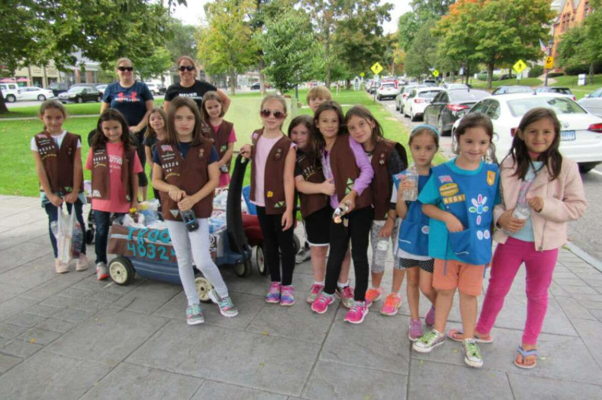 A Girl Scout troop at the New Milford Walk a Mile from a prior year.