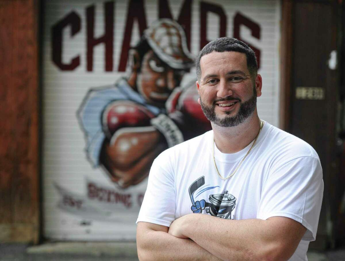 A.J. Galante, owner of Champs Boxing Club, in Danbury. Netflix is releasing a documentary this week on the Danbury Trashers, a minor league hockey expansion team in the United Hockey League. The team was bought by James Galante who made A.J. Galante, then 17, president and general manager.