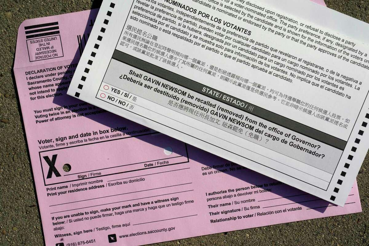 A California recall ballot from Sacramento. Voters have until Sept. 14 to cast their ballots to either keep Gov. Gavin Newsom in office or replace him with one of 46 candidates on the recall ballot. In a state dominated by Democrats, the outcome will depend on who takes the time to vote.