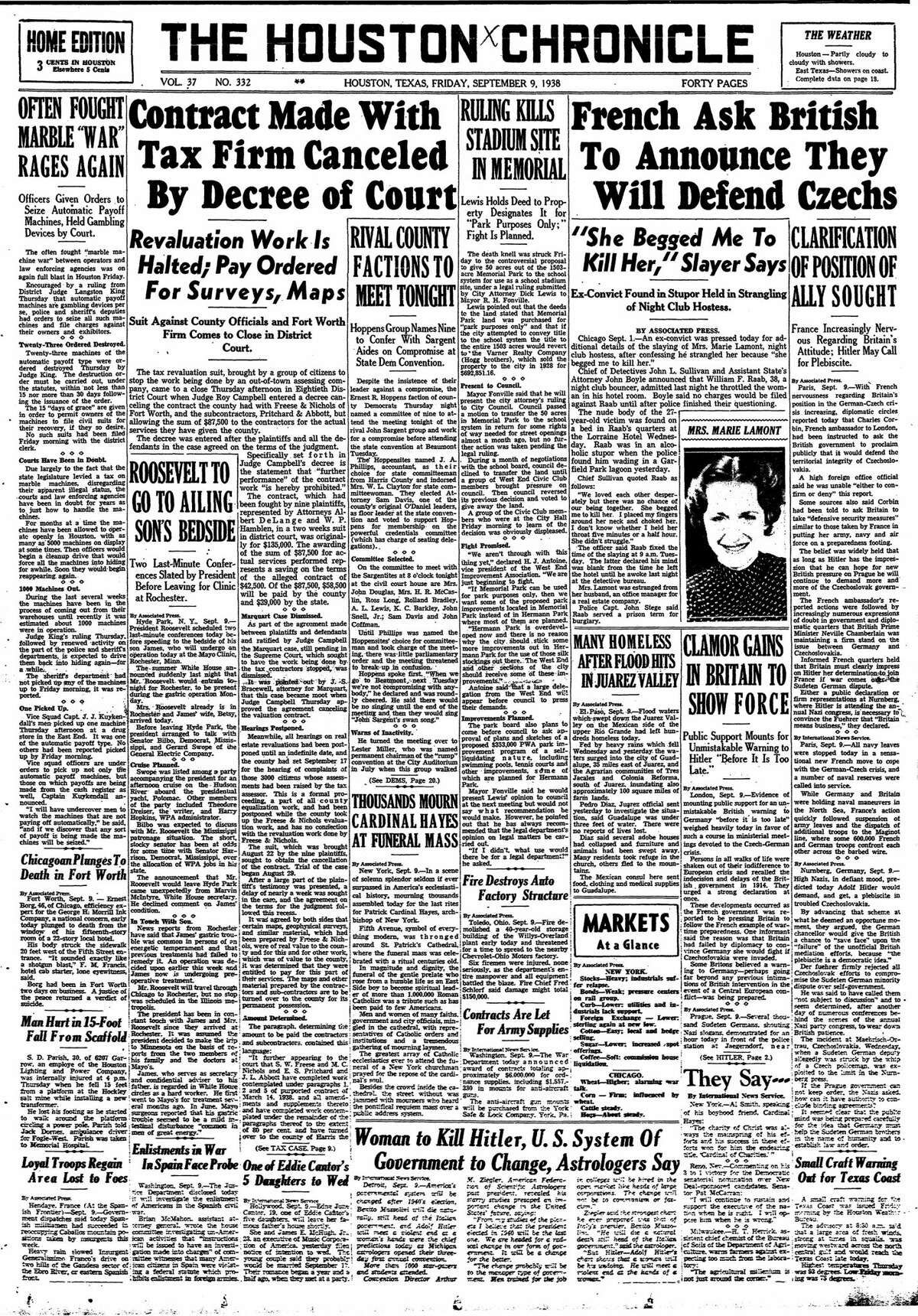 Houston Chronicle front page from Sept. 9, 1938.