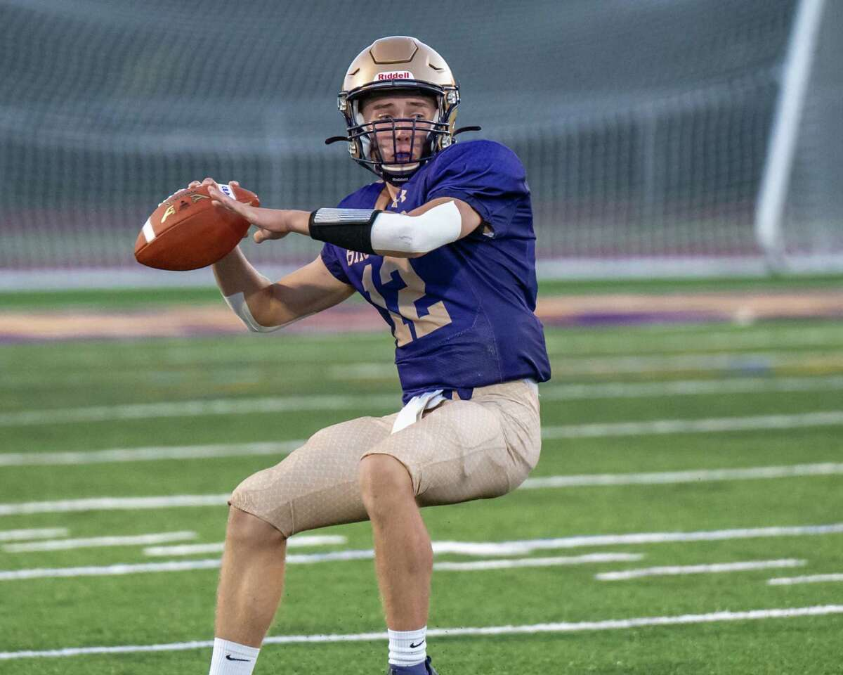 CBA quarterback Jack Gregory looks for a receiver during the season opener against LaSalle Institute at CBA in Colonie, NY, on Friday, Sept. 3, 2021. (Jim Franco/Special to the Times Union)