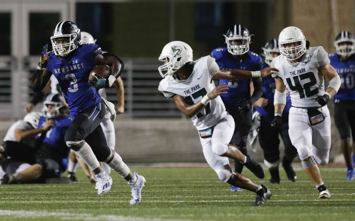 New Caney running back Kedrick Reescano (3) runs for a 70-yard gain during the fourth quarter of a high school football game at Randall Reed Stadium, Friday, Sept. 3, 2021, in New Caney.