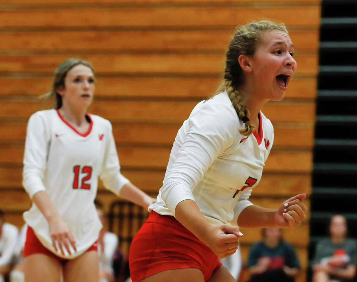 The Woodlands setter Olivia Chojnacki (7) reacts after a point during the championship match of the John Turner Classic against Fort Bend Ridge Point at Pearland Dawson High School, Saturday, Aug. 14, 2021, in Pearland.
