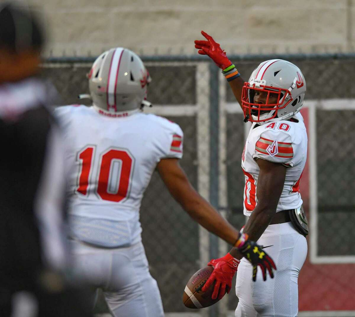 Marvin Beasley (40) of Judson celebrates after scoring a first-half touchdown during high school football action at Cavalier Stadium on Friday, Sept. 3, 2021.