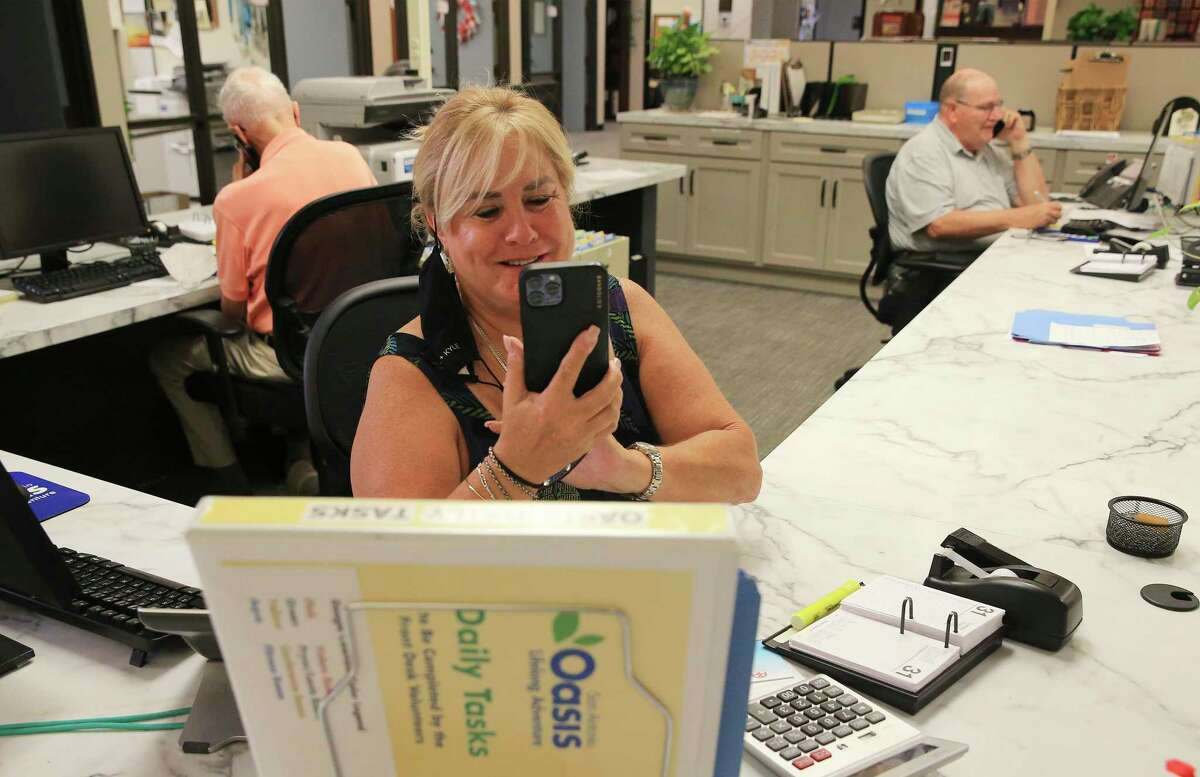 Volunteer Dawn Hamilton is part of the San Antonio Oasis Silver Connect chatline that connects older adults who are lonely during pandemic. The service is open to adults 50 years and above. The program began at the end of July, but the big kickoff is Sept. 7. Hours for the program are Monday through Friday, 5 p.m. to 9 p.m., and Saturday and Sunday, 9 a.m. to 9 p.m. In addition to offering emotional support, the Silver Connect Line also helps with grief support through assistance, reassurance, information and referrals.