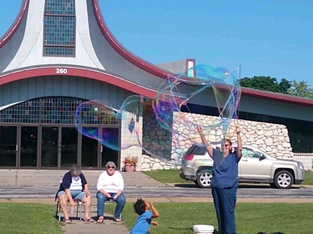 Deb Mullins, the Crazy Bubble Lady came out as part of the Council on Aging's celebration of senior's for Senior Center Month. (Courtesy photo)