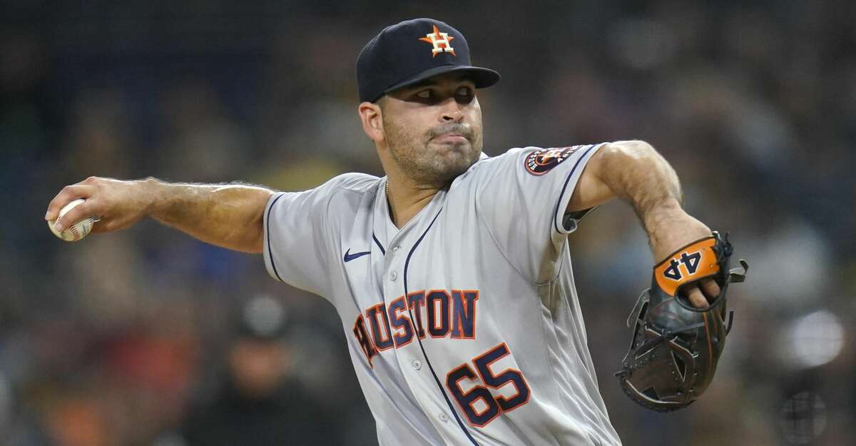 Houston Astros starting pitcher Jose Urquidy works against a San Diego Padres batter during the first inning of a baseball game Friday, Sept. 3, 2021, in San Diego. (AP Photo/Gregory Bull)