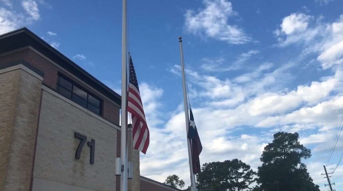 The Spring Fire Department holds a ceremony during which the U.S. and Texas flags are raised and then lowered to half mast in memory of 9/11 in 2019.