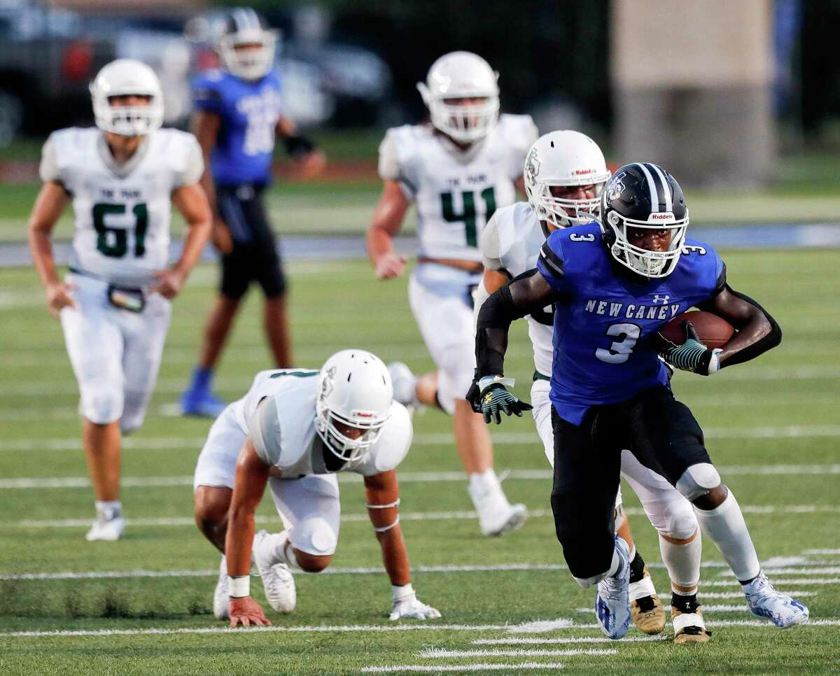 New Caney running back Kedrick Reescano (3) breaks free for a 41-yard gain during the second quarter of a high school football game at Randall Reed Stadium, Friday, Sept. 3, 2021, in New Caney.