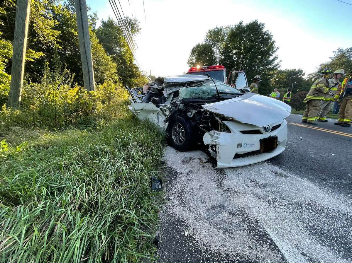 A motor vehicle accident between a car and a dump truck closed Route 133 for about an hour Friday evening. The incident sent two people to the hospital with non-life threatening injuries.