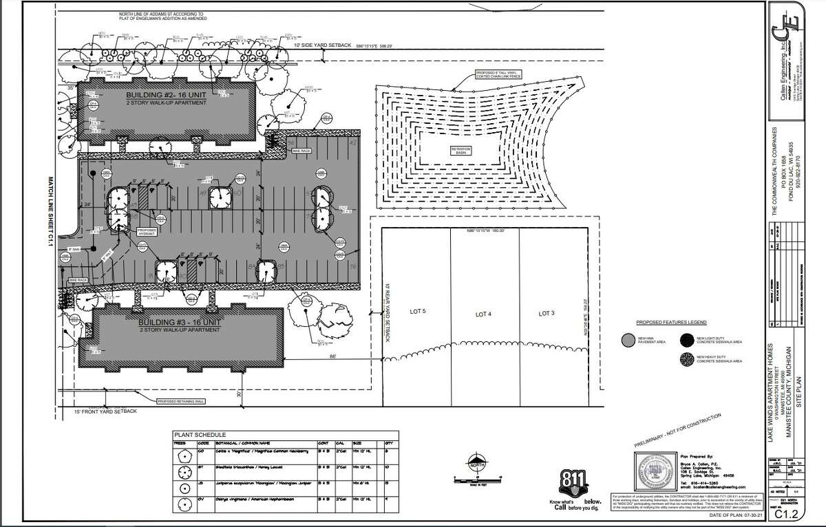 A screenshot from a planning document shows the proposed layout of the Lakewind Apartment Homes complex.