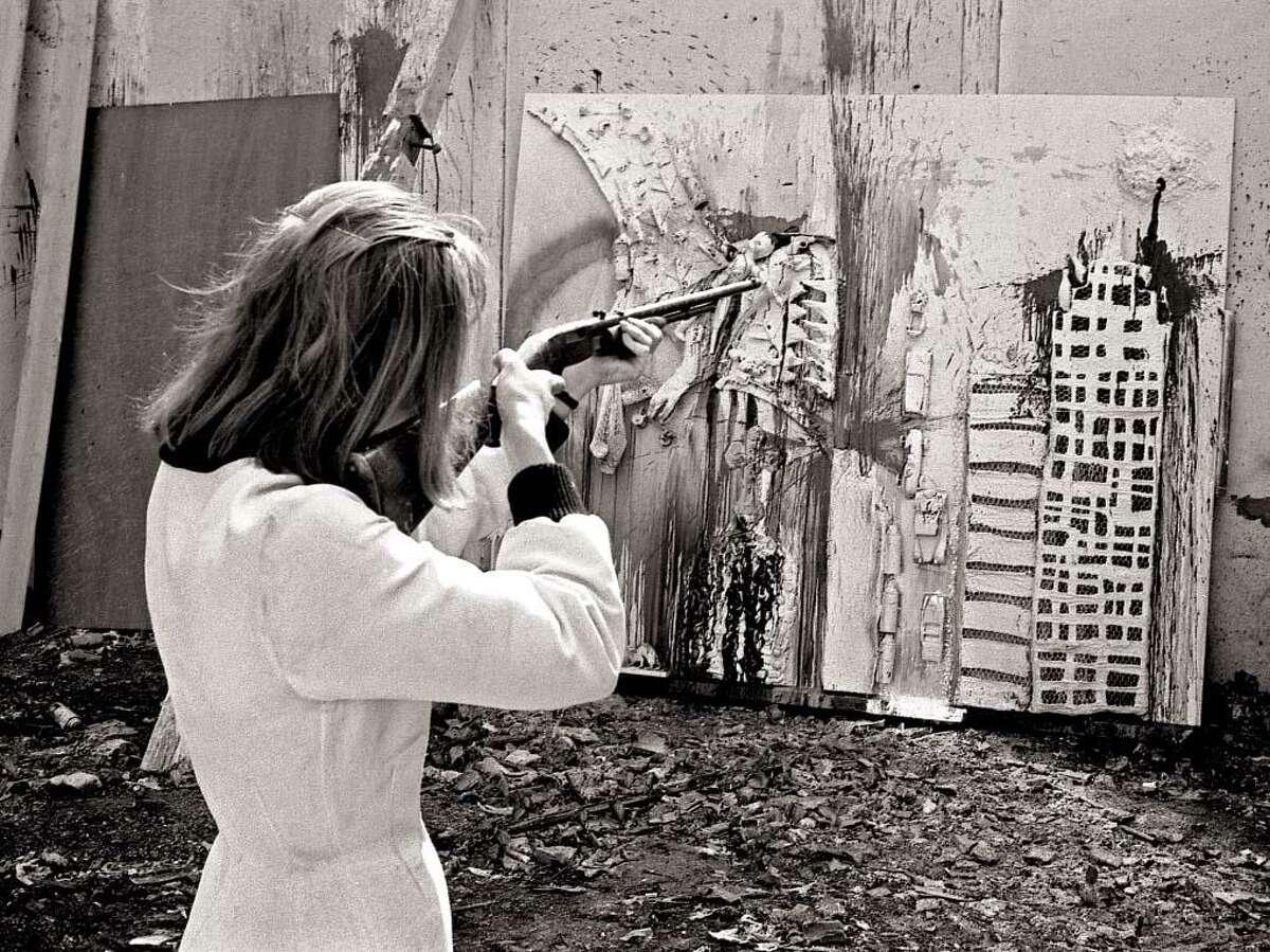 Niki de Saint Phalle during a shooting session at Impasse Ronsin, Paris.