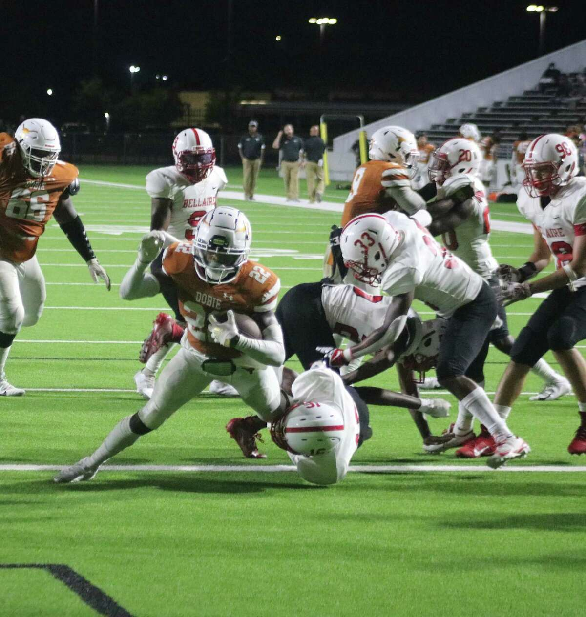 Trajan Davis powers his way over the goal line for one of his three touchdowns on the night. This one went for six yards and the first score of the second half. He finished with 208 rushing yards.