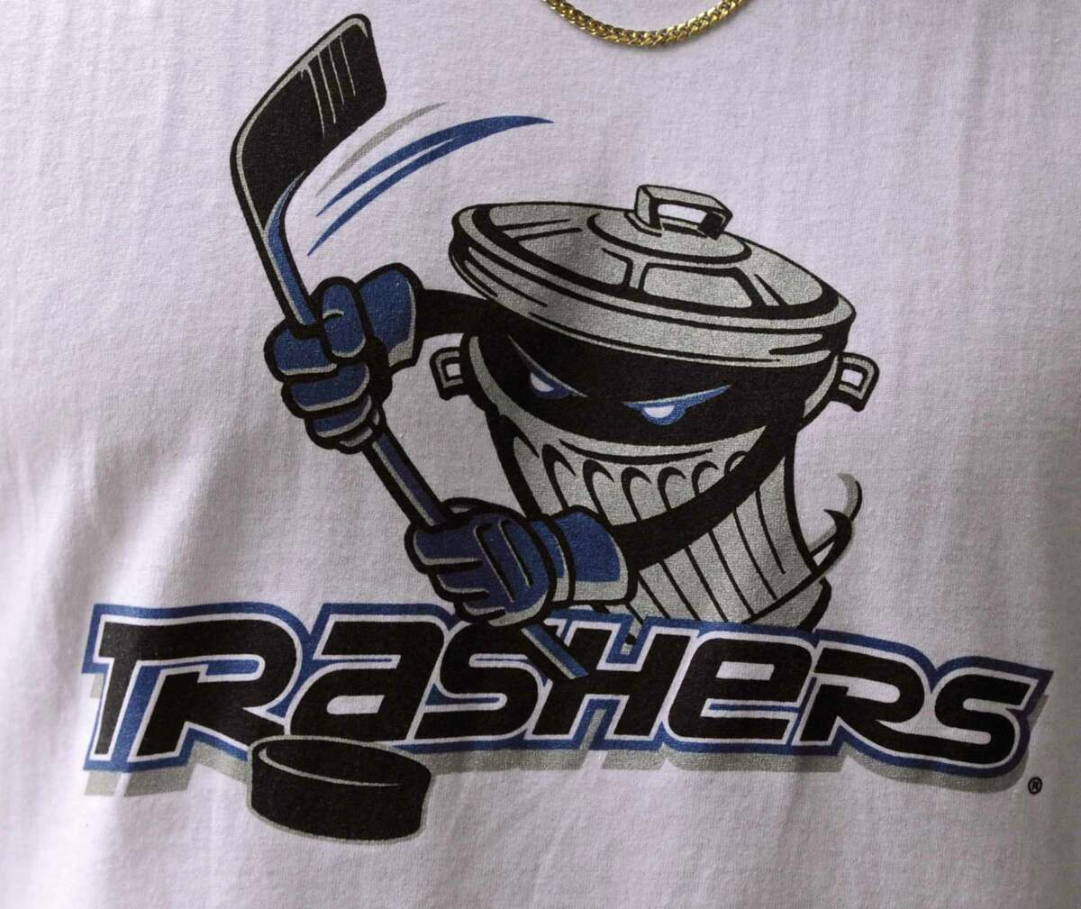 The Danbury Trashers logo on a jersey worn by A.J. Galante. Galante's father, James Galante, bought the minor league hockey expansion team years ago.