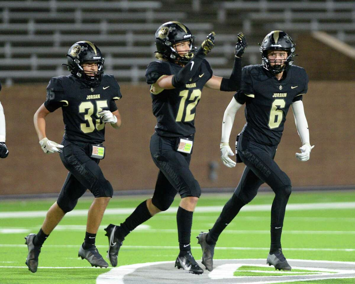 Braden Franklin (12) of Jordan reacts after intercepting a pass during the second quarter of a non-District football game between the Jordan Warriors and the Danbury Panthers on Friday, September 3, 2021 at Rhodes Stadium, Katy, TX.