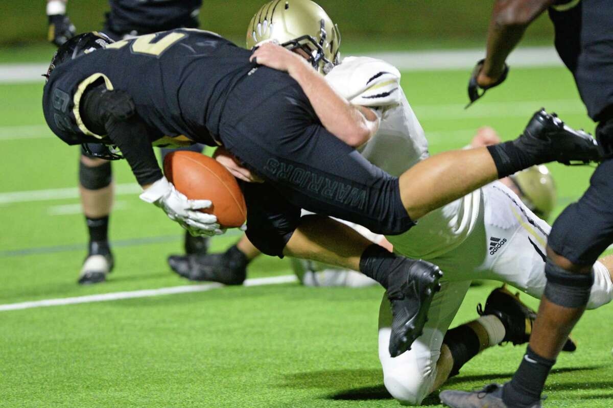 Logan Lawson (29) of Jordan recovers a fumble during the third quarter of a non-District football game between the Jordan Warriors and the Danbury Panthers on Friday, September 3, 2021 at Rhodes Stadium, Katy, TX.