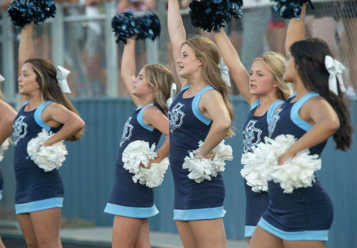 Greenwood cheerleaders cheer on the team 09/03/2021 at J.M. King Memorial Stadium as they take on Brownwood. Tim Fischer/Reporter-Telegram