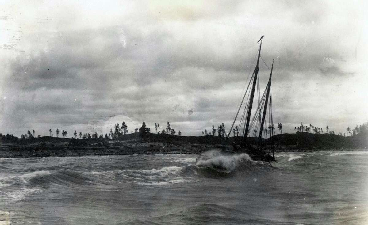 Another schooner lays wrecked near the Manistee shoreline in an accident similar to that of the Estelle.(Manistee County Historical Museum)