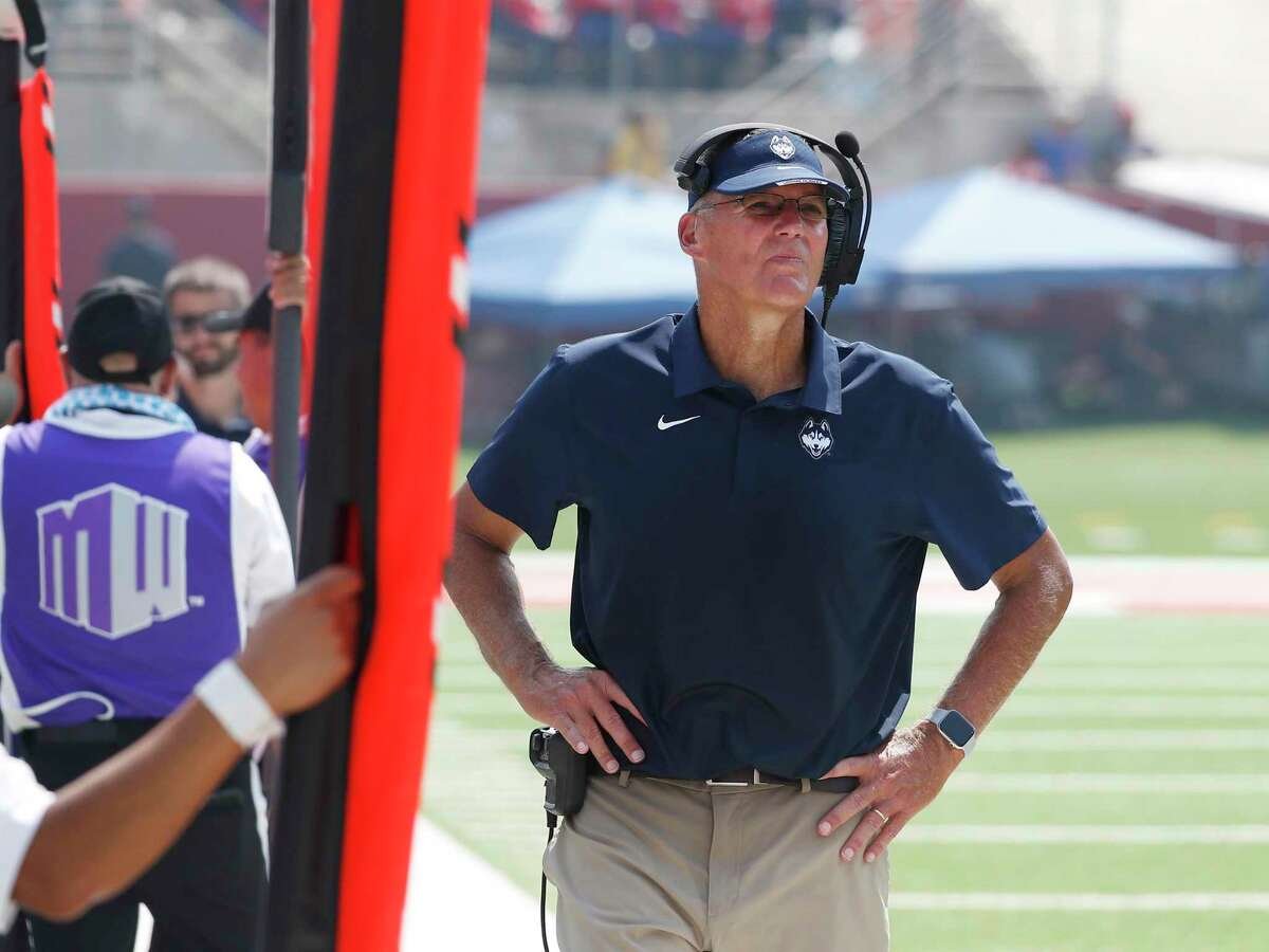 UConn coach Randy Edsall looks on last week durig the Huskies game against Fresno State. The Huskies fell to 0-2 after falling to Holy Cross on Saturday.