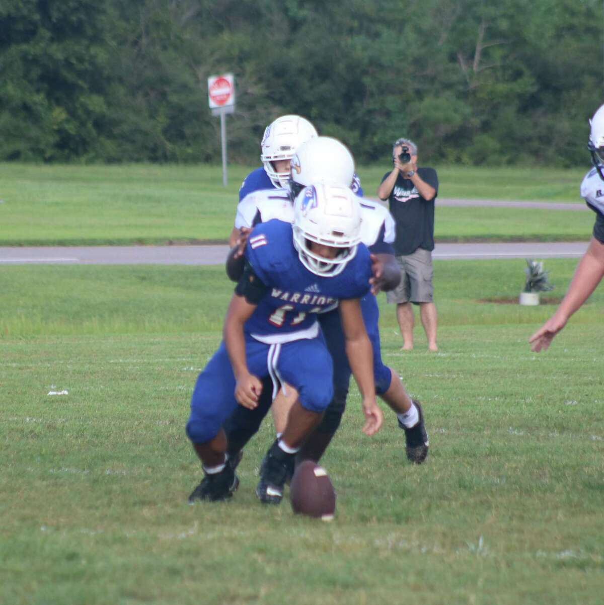 FBCA's Matthew Cundiff prepares to recover a loose ball during the Warriors home debut in six-man action.