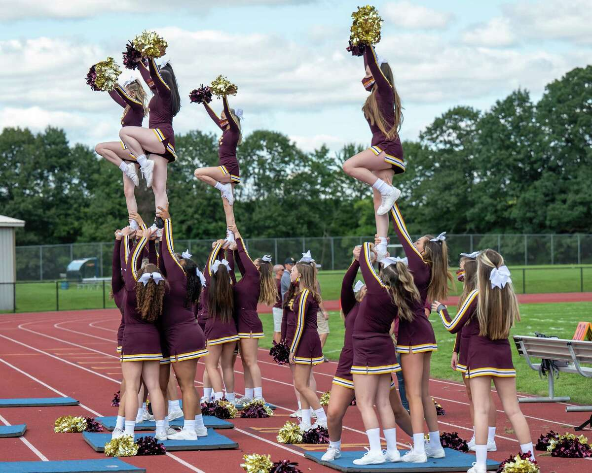 Colonie cheerleaders cheer for their team during the season opener against Averill Park at Averill Park High School on Saturday, Sept. 4, 2021 (Jim Franco/Special to the Times Union)