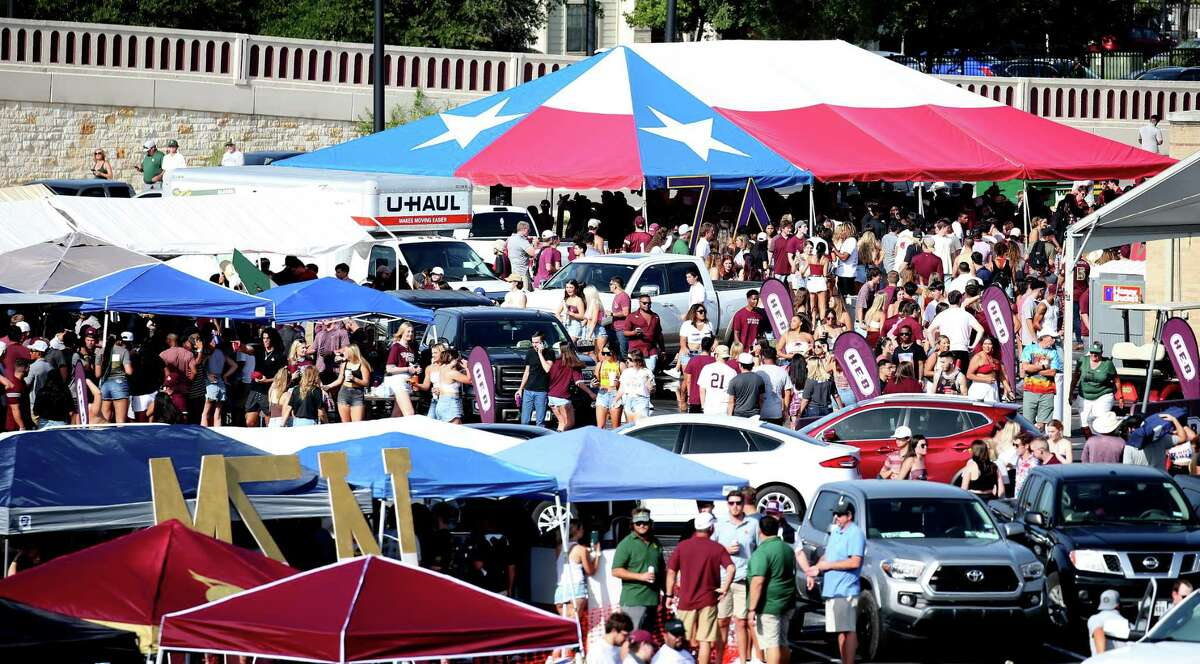 Football fans celebrate ahead of Saturday's matchup against Baylor. Tailgating was banned last year due to COVID. But Saturday's game kicked off its return to Texas State.