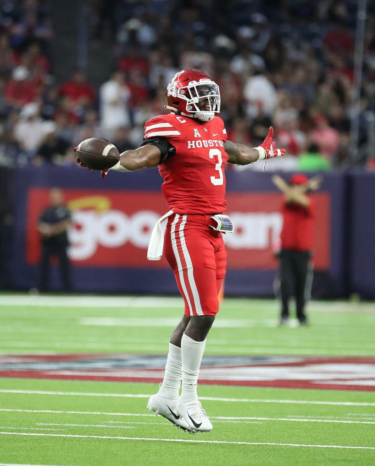 Houston Cougars linebacker Donavan Mutin (3) celebrates a turnover against Texas Tech Red Raiders during the first quarter of the Texas Kickoff college football game at NRG Stadium, Saturday, September 4, 2021, in Houston.
