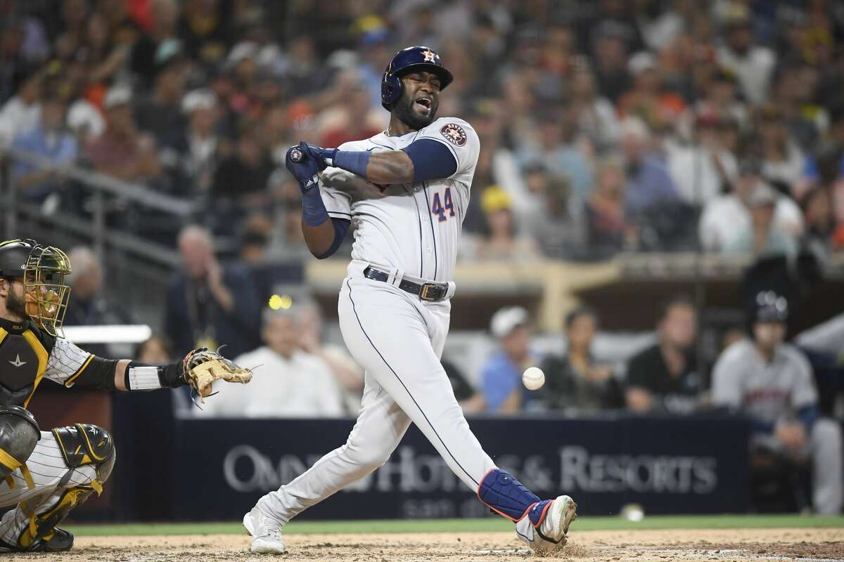 SAN DIEGO, CA - SEPTEMBER 4: Yordan Alvarez #44 of the Houston Astros reacts after he's hit with the ball during the fifth inning of a baseball game against the San Diego Padres at Petco Park on September 4, 2021 in San Diego, California. (Photo by Denis Poroy/Getty Images)