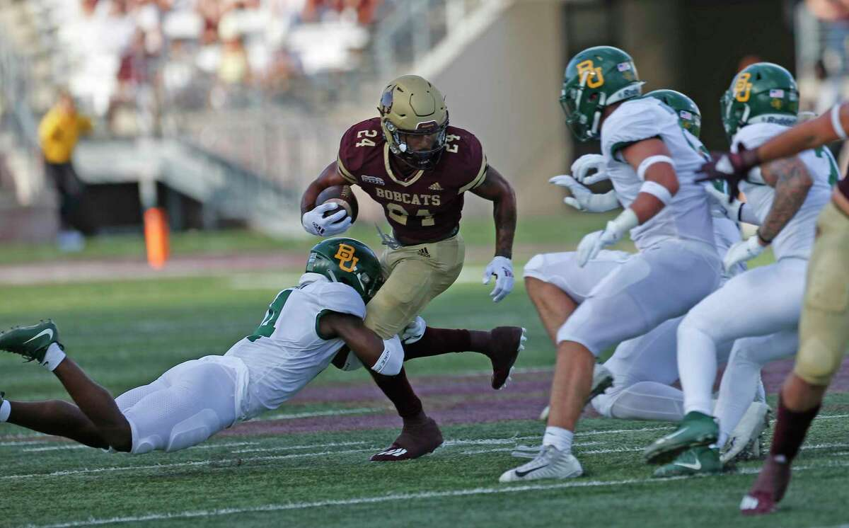 Texas state Caleb Twyford(24) looks for running room. Baylor defeated Texas State 29-21 on Saturday, Sept. 4, 2021.