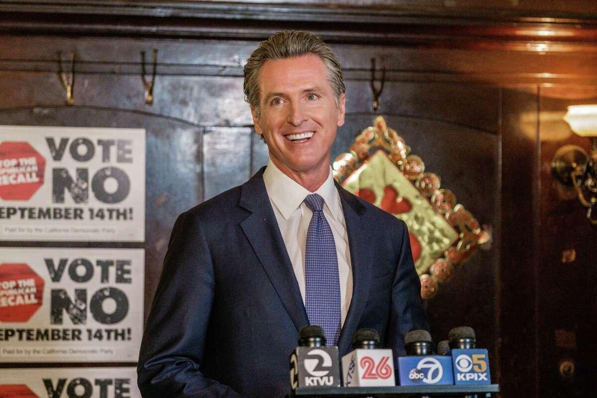 Gov. Gavin Newsom campaigns against the recall last week in San Francisco.