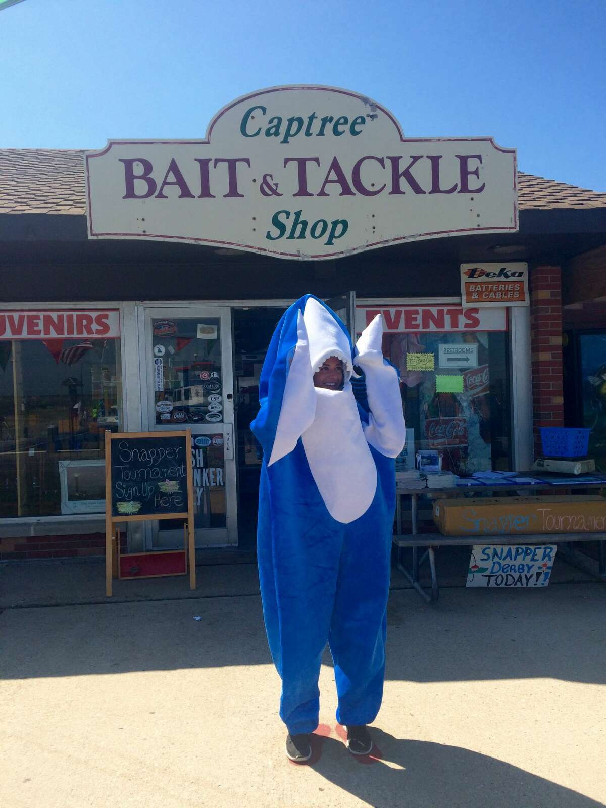2. I spent my summers working at a bait and tackle shop and I like to fish. (And yes, sometimes they let me wear the shark suit.)