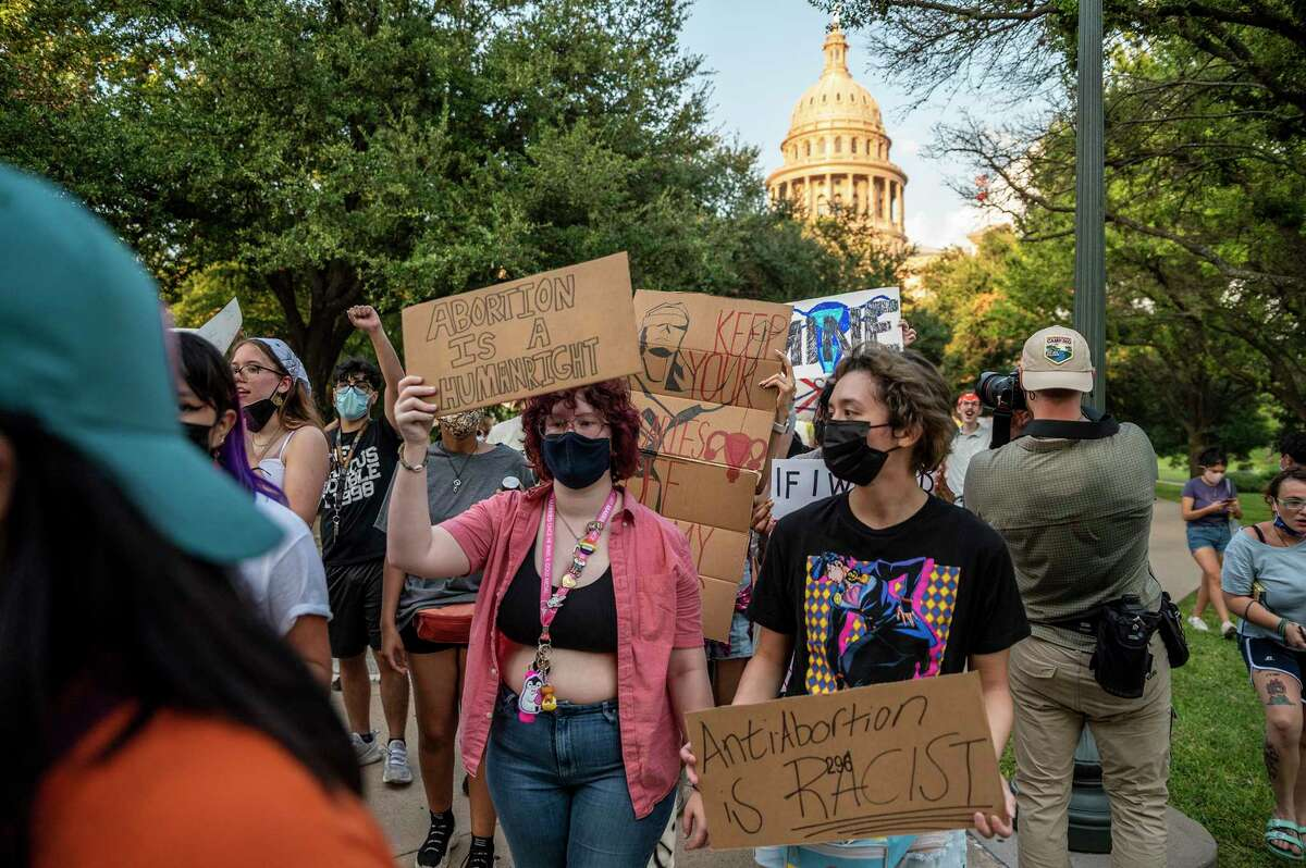 Abortion rights supporters march outside the Texas Capitol on Sept. 1 in Austin.