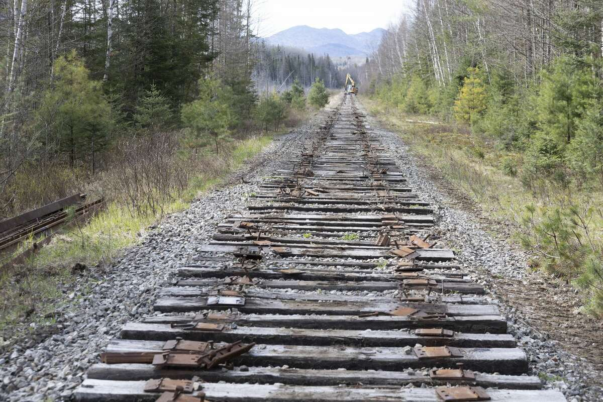 These railroad tracks, shown here in May, were taken up this spring and summer. (Photo by Mike Lynch/Adirondack Explorer)