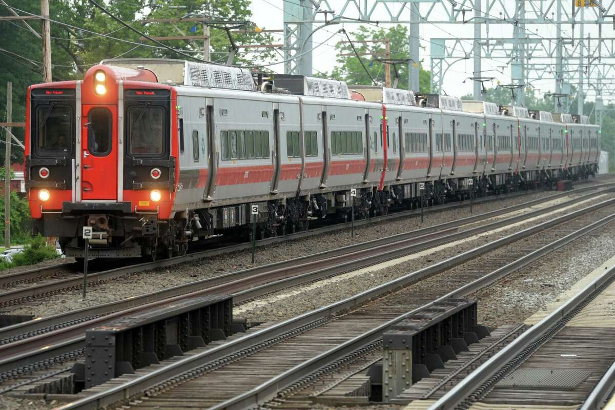 A New Haven bound Metro-North train pulls into the Stratford rail station, in Stratford, Conn. June 21, 2021.