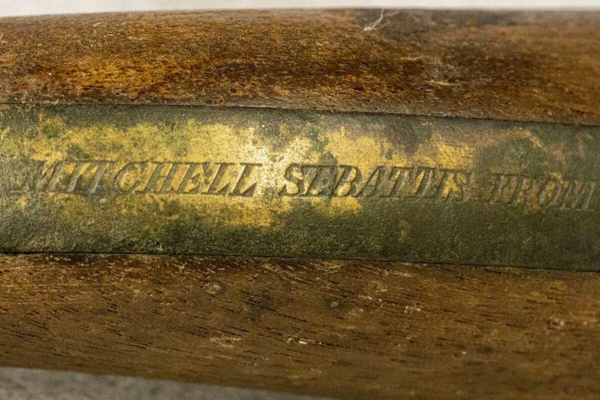 An engraving on Mitchell Sabattis's pistol. (Photo by Mike Lynch/Adirondack Explorer)