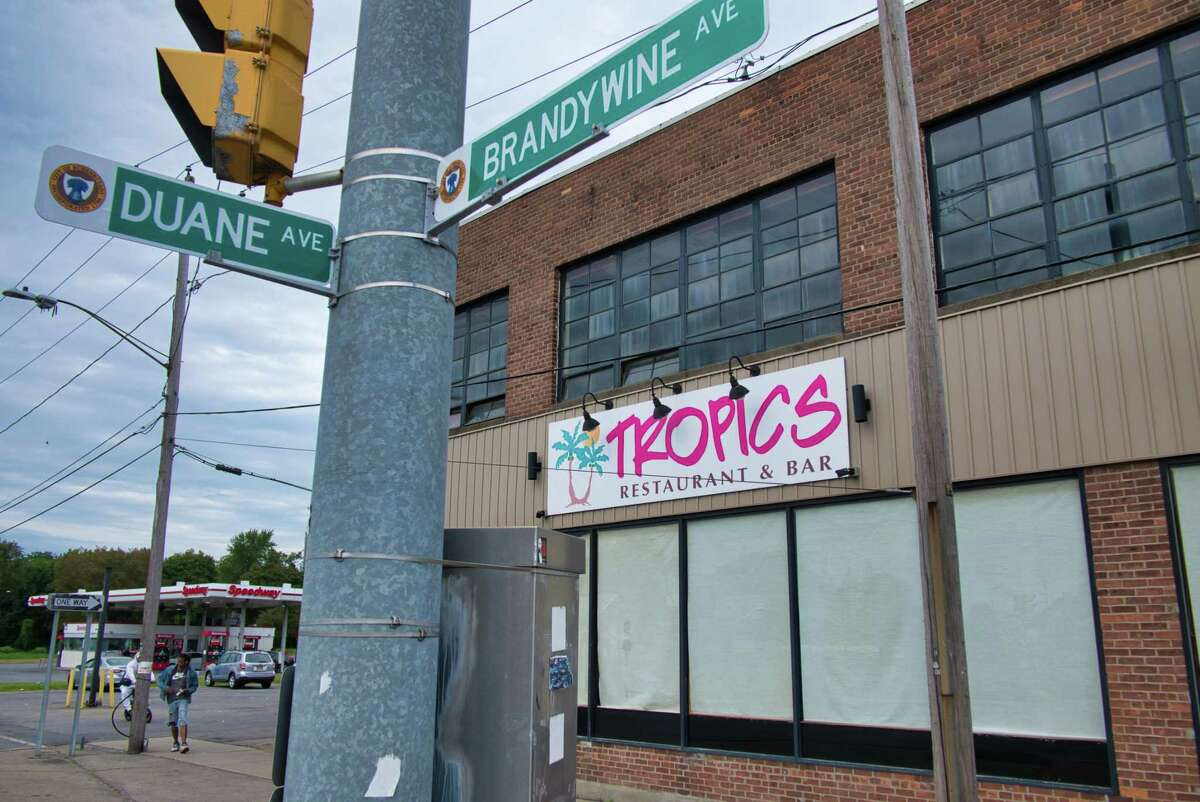 A view of Tropics Bar and Restaurant on Brandywine Ave. on Sunday, Sept. 5, 2021, in Schenectady, N.Y.
